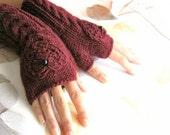 IN LOVE...again... Burgundy Fingerless Gloves with a  HEART