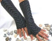 Charcoal GRAY LONG Fingerless Gloves with a cable pattern