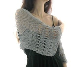 GRAY COTTON SHRUG  ....Elegant Hand Knitted Summer Shrug