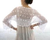 COTTON SHRUG  ....Elegant Hand Knitted Summer Shrug in  White