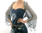 COTTON SHRUG  ....Elegant Hand Knitted Summer Shrug in Gray