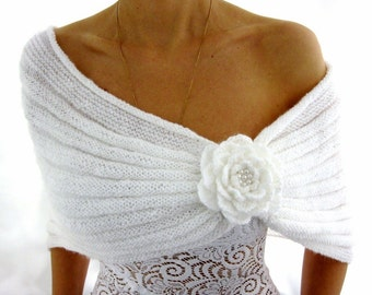ROMANTIC WHITE...Handmade  Mohair Capelet with a Flower brooch