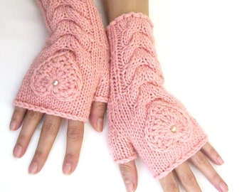 Pink Hand Knit Fingerless Wool Gloves with a heart, Fingerless  Mittens, Arm Warmers , CHRISTMAS Gift for her, Eco Friendly