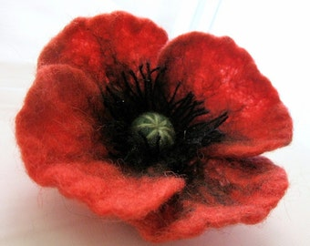 Felt  Red POPPY...Flower Brooch