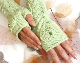 IN LOVE ... Pale Green Fingerless Gloves with a HEART