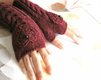 IN LOVE...again... Burgundy Fingerless Gloves, Wool Mittens, Arm Warmers with cable pattern and crochet hearts, eco friendly