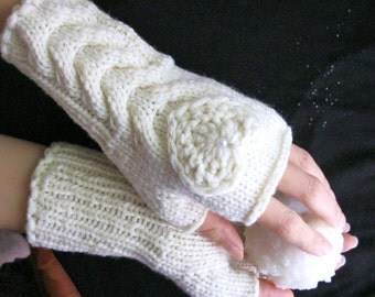 IN LOVE... again... off White/ Ivory Fingerless Gloves, Wool Women Mittens,  Arm Warmers with  crochet hearts, Hand Knitted, eco friendly