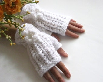 WHITE SILENCE...Romantic Fingerless Gloves, Wool Mittens, Arm Warmers with  crochet flowers, Hand Knitted, Eco Friendly