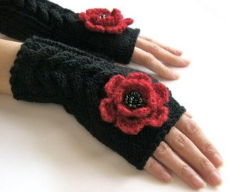 BLACK and  RED...Fingerless Gloves, Wool Mittens, Arm Warmers with cable pattern and crochet flowers, eco friendly