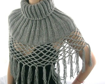 FREE Shipping ...GRAY FRINGES....Hand Knitted Wool Polo Collar with grids and fringes for Women, eco friendly