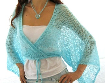 AQUA ...SEA BREEZE...Elegant Hand Knitted  Vest, Bolero, Shrug