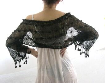 COTTON SHRUG  ....Elegant Hand Knitted Summer Shrug in  Black