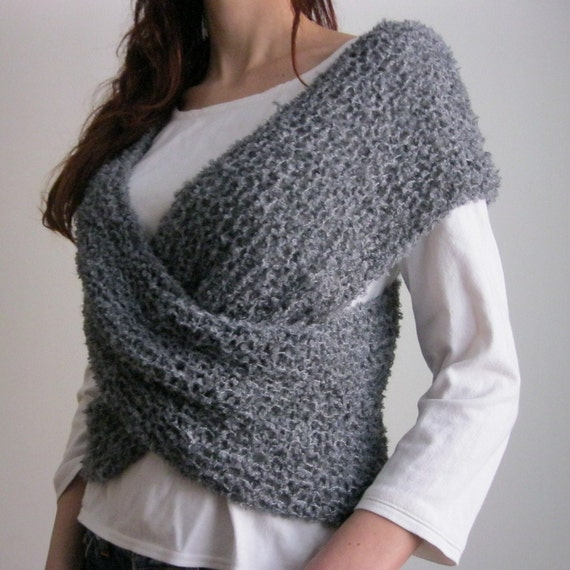 Items similar to GRAY WRAP...Handknitted Cross Sweater on Etsy