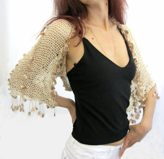 COTTON SHRUG  ....Elegant Hand Knitted Summer Shrug in Caramel