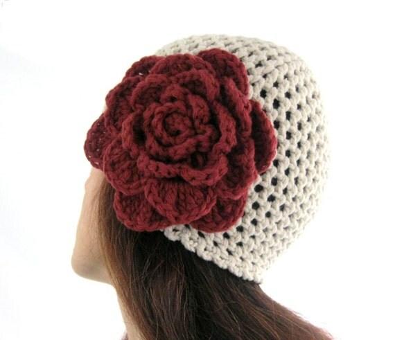Burgundy  FLOWER HAT ...Handcrocheted in Oatmeal, Neutral