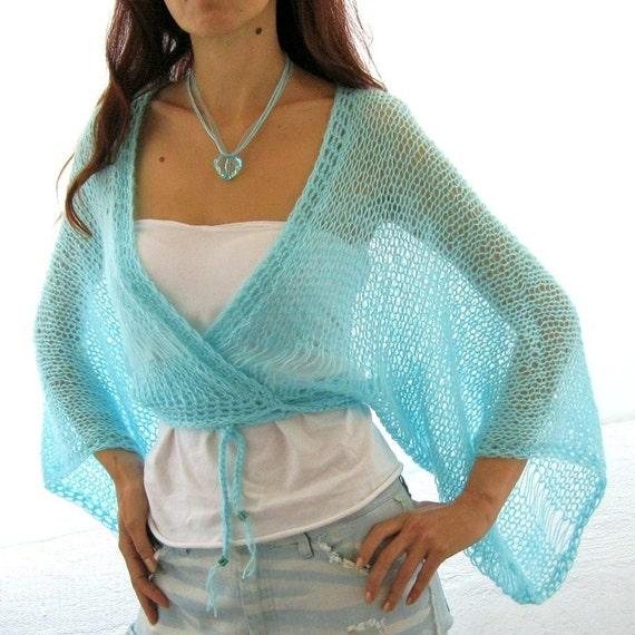 AQUA ...SEA BREEZE...Elegant Hand Knitted  Vest, Bolero, Shrug, kimono sleeves