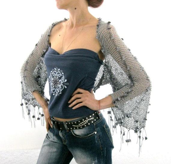 COTTON SHRUG  ....Elegant Hand Knitted Summer Shrug in Gray