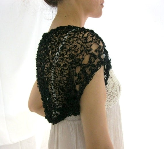 Black Shrug  ....Elegant Hand Knitted Summer Shrug