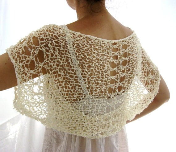 Champagne Shrug  ....Elegant Hand Knitted Summer Shrug