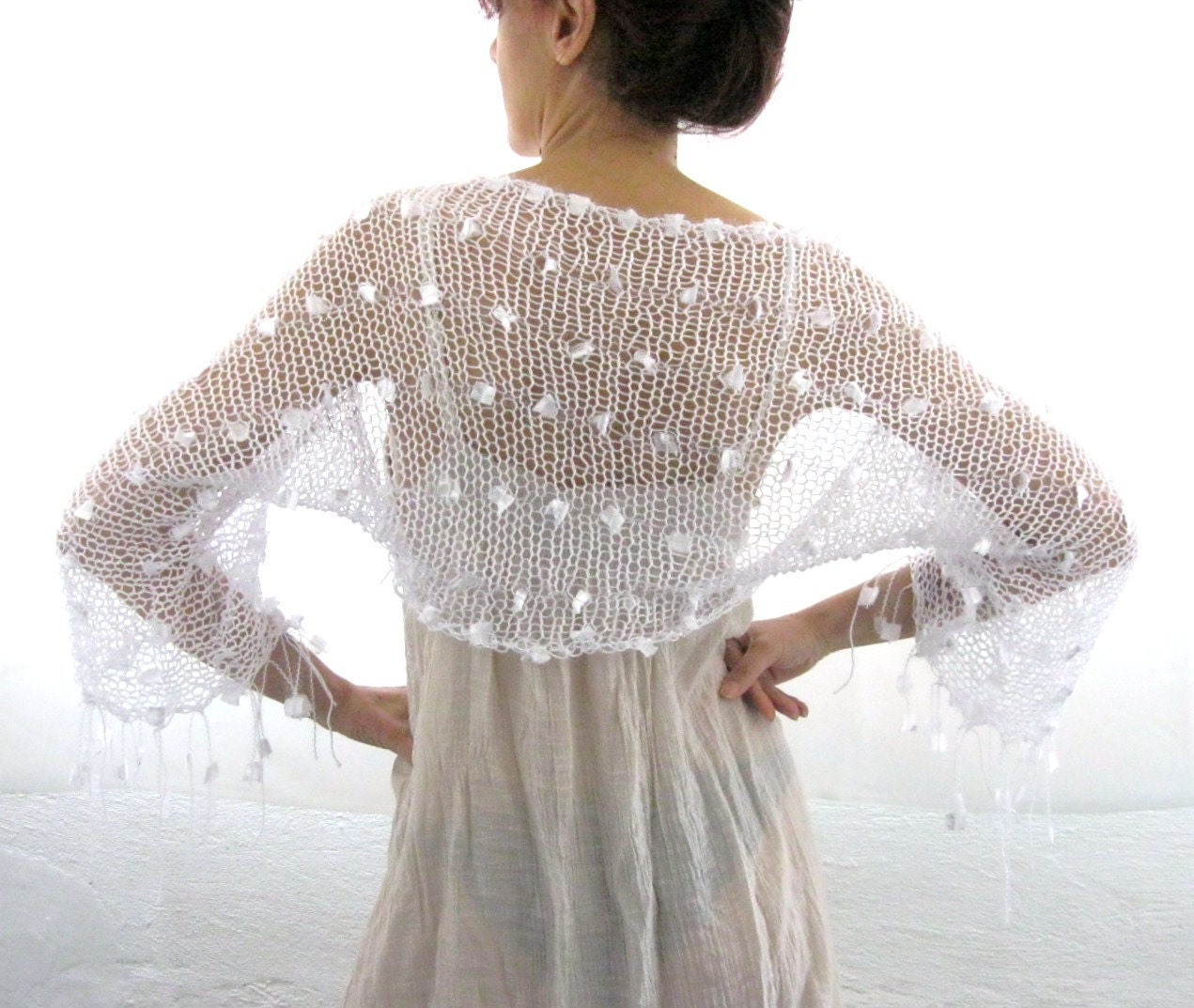Summer Shrug Knitting Pattern : COTTON SHRUG ....Elegant Hand Knitted Summer Shrug in White