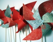 Last Set-Everafter Spinnable Paper Pinwheels (6) Red Turquoise Blue Flowers Centerpiece