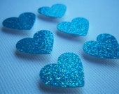 Adhesive Blue Glitter Dimensional Hearts (18) Small Raised Heart Paper Punches for Crafting Decorating Card Making Gift Tags