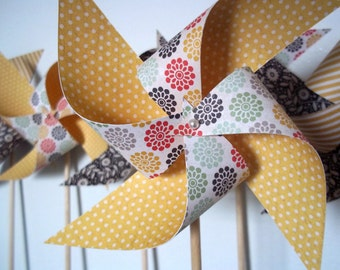 Paper Pinwheel Bouquet. Yellow & Black. Polka Dots, Stripes, Flowers. (set of 8)