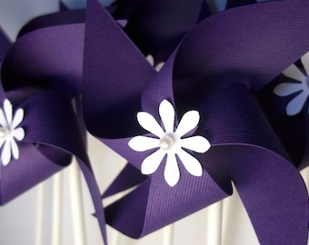 Handmade Purple Paper Pinwheels with White Flowers. Small Birthday Pinwheels. Decor & Favors (set of 10)