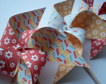 Sweet Summertime Paper Pinwheels. Flowers Bicycles Pennant Stripes. (set of 6)