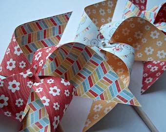 Sweet Summertime Paper Pinwheels. Flowers Bicycles Pennant Stripes. (set of 6)