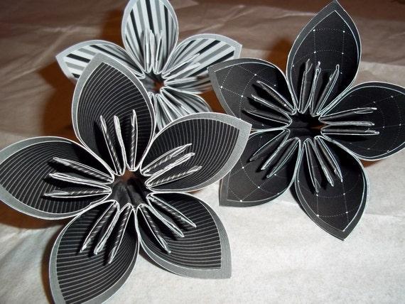Tuxedo Paper Flower set, Black and White
