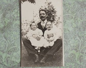Mustached Father and Two Daughters, Children, RPPC 1900s