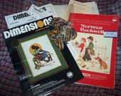 Summer Sale - Norman Rockwell Cross Stitch Kit SPOONERS & Pattern YOUNG LOVE Lot Vintage