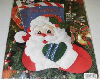 "1995, Bucilla Gallery of Stitches, Kit, SANTA FACE, Christmas Stocking, 15"" Diagonal, Felt Applique Stocking KIT 33507, New in Package"