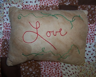 Grungy, Primitive, LOVE, Redwork, Accent Pillow, Tuck, Small Pillow, Hand Embroidered, Shelf Sitter,  Grungy, Unique, Prim Decor, Decoration