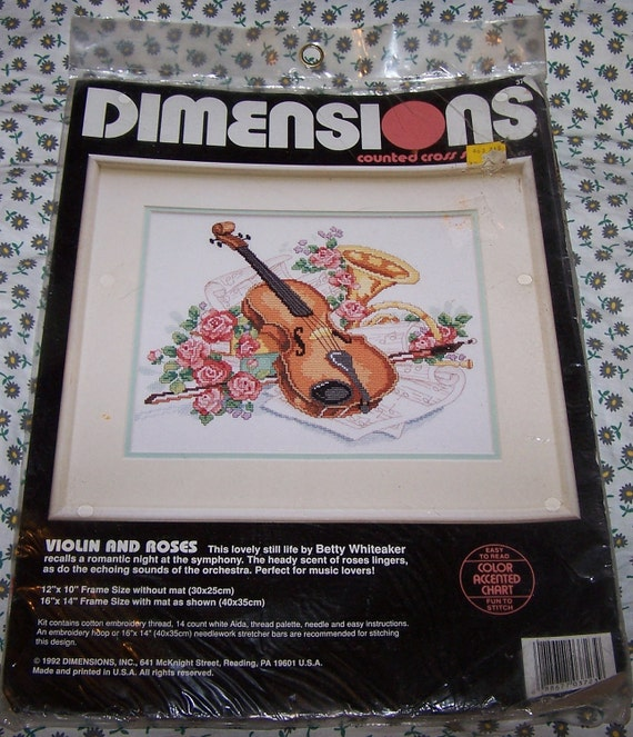 Dimensions, Counted Cross Stitch Kit, Violin and Roses, New, Unopened, 1992, Betty Whiteaker, Made and Printed in USA