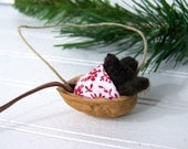 Christmas Mouse Ornament, Needle Felted Mouse Snuggled in Walnut Ornament - NobleEarth