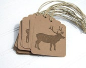 Elk Gift Tags / Eco-friendly Gift Labels / Rustic Woodland / Brown Hanging Tag / Recycled Paper / set of 12