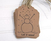 Snowman Gift Tags, Joyful Snowman, Let It Snow, Handcut Hanging Tag, 12 Gift Labels Eco-friendly