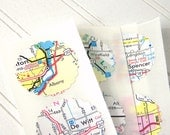 Map stickers, Scalloped Circle, Recycled Upcycled Map Seals