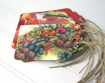 Eco-friendly Holiday Gift Tags, Poinsetta and Evergreen 2, Recycled Cards