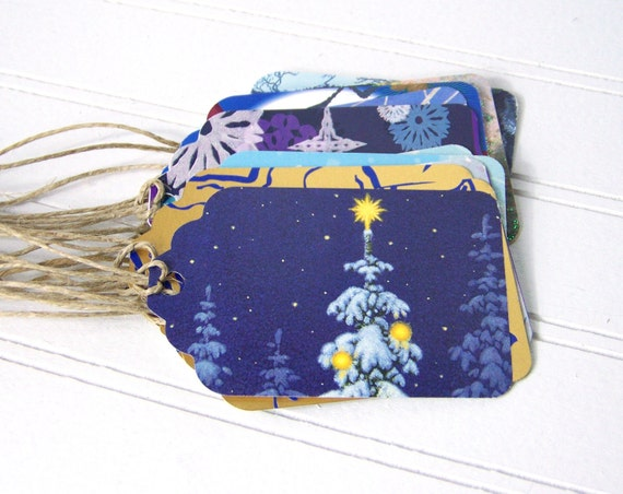 Eco-friendly Holiday Gift Tags, Blue Christmas, Handcut Holiday Hanging Tags, Recycled Cards