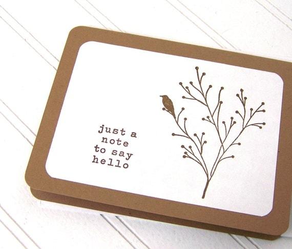 Notecard Set, Bird Silhouette Cards, Woodland Hello, Blank Cards