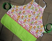 Childs Owl Apron in Pink and Green, Personalized Options Available