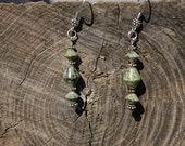 Russian Serpentine Sterling Silver Earrings