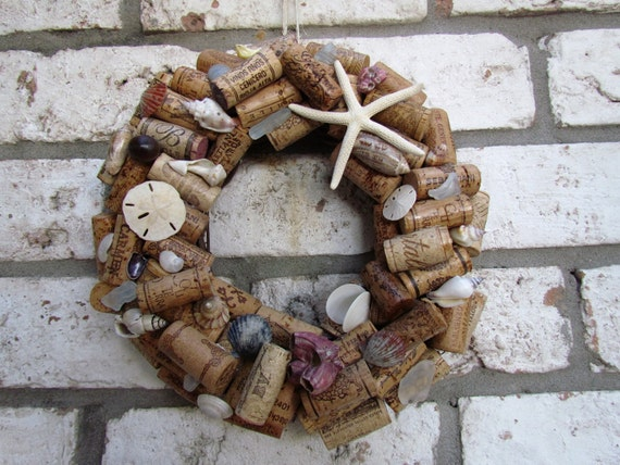 Wine Cork and Shell Wreath