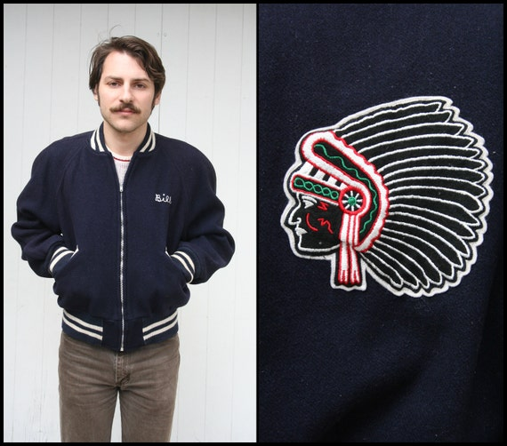 Vintage Navy Blue INDIAN PATCH Champion Jacket