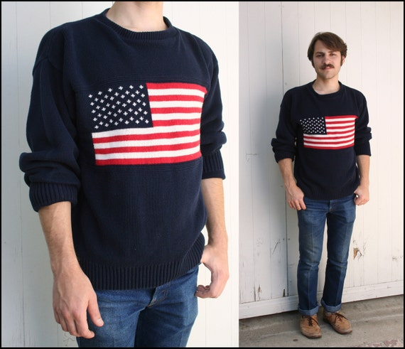 Vtg American Flag Navy Blue Sweater Small