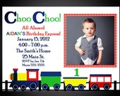 Choo Choo Train Birthday Invitation with Photo