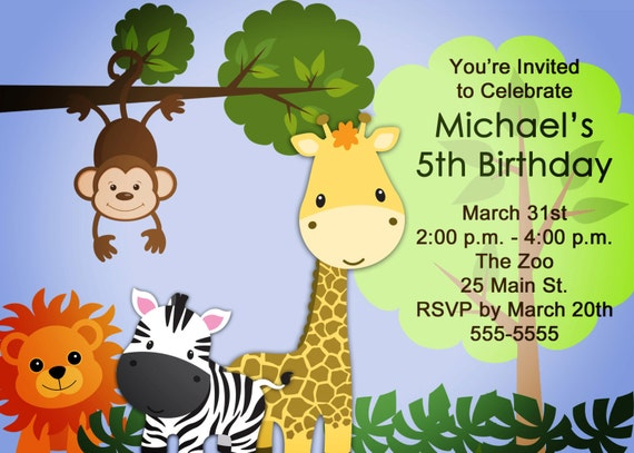 Zoo/Safari Birthday Invitation for Boys or Girls (Printable Digital file)